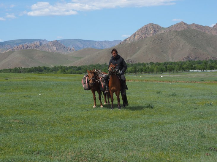 Swen and his horses (pictured in front of Terelj National Park).