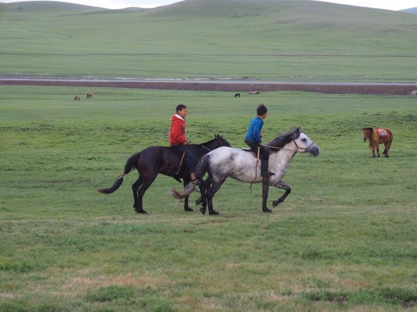 The jockies warming up their horses.